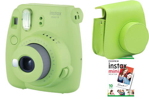SET INSTAX MINI 9 Lime Green + film 10 snímků + pouzdro